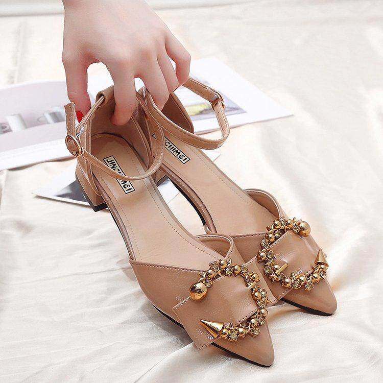 2018 summer new Korean version Rome Grind Fine belt Buckle Packs and heels women's sandals and