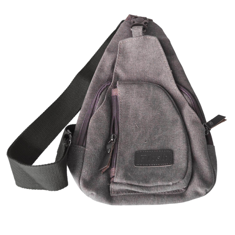Flrsh Men s Canvas Unbalance Backpack Shoulder Sling Chest Hiking Bicycle  Bag Grey - intl c07369775d23f