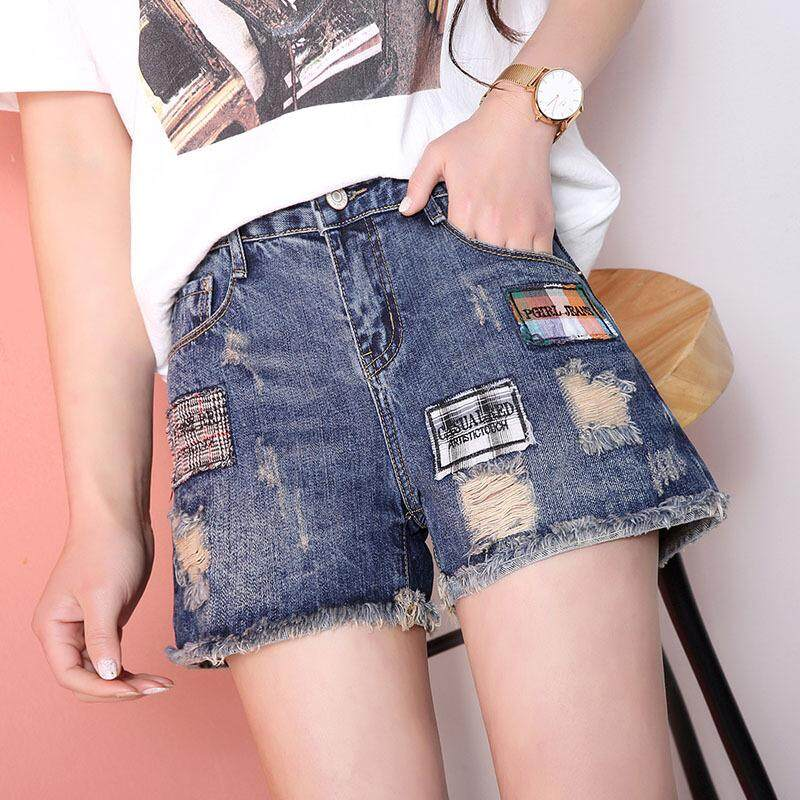 2391e630ef New Spring and Summer High Waist Denim Shorts Female Hot Pants Students  Thin Korean Version of Loose Wide Leg Hole Burrs - intl