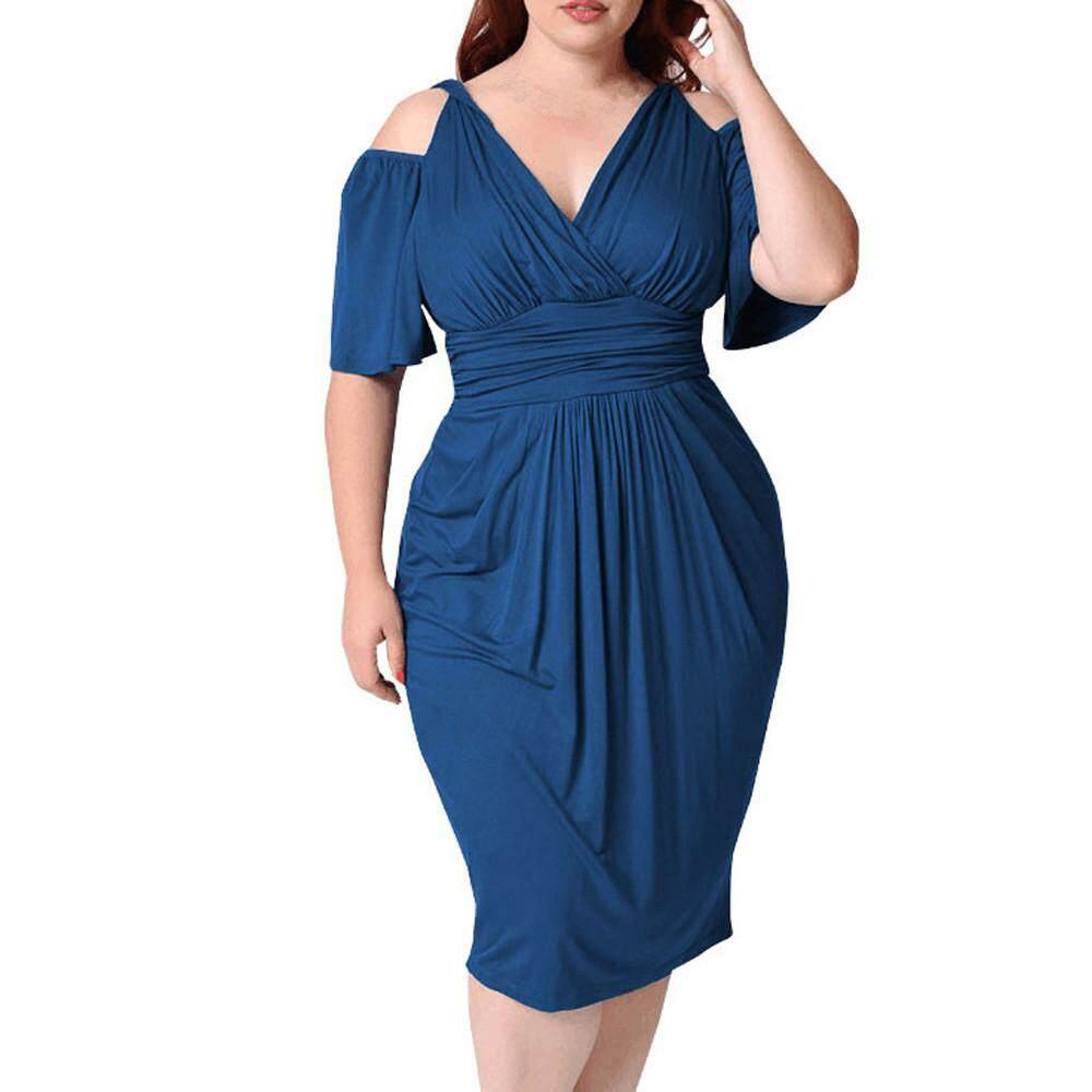 High - End แฟชั่นผู้หญิงขนาดพิเศษ V คอสีทึบแขนสั้นชุด By Berylshop.