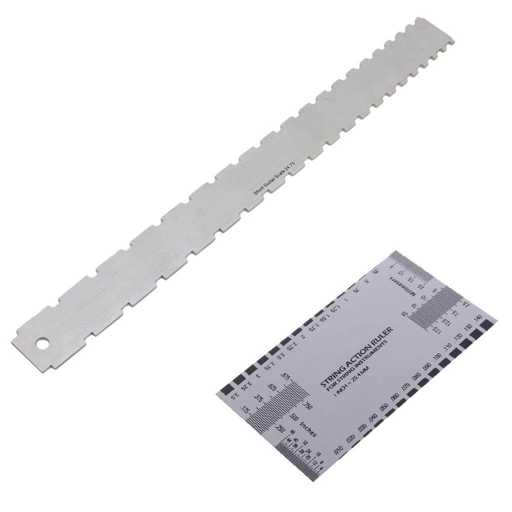 Features Miracle Shining Guitar String Action Ruler 2pcs Fingerboard ...