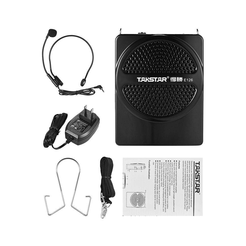 Takstar E126 8 W Mini Ukuran Isi Ulang Penguat Suara Amp dengan Mikrofon Kabel AUX Input untuk Pemandu Wisata Guru Presentasi Pasar Promosi - 2