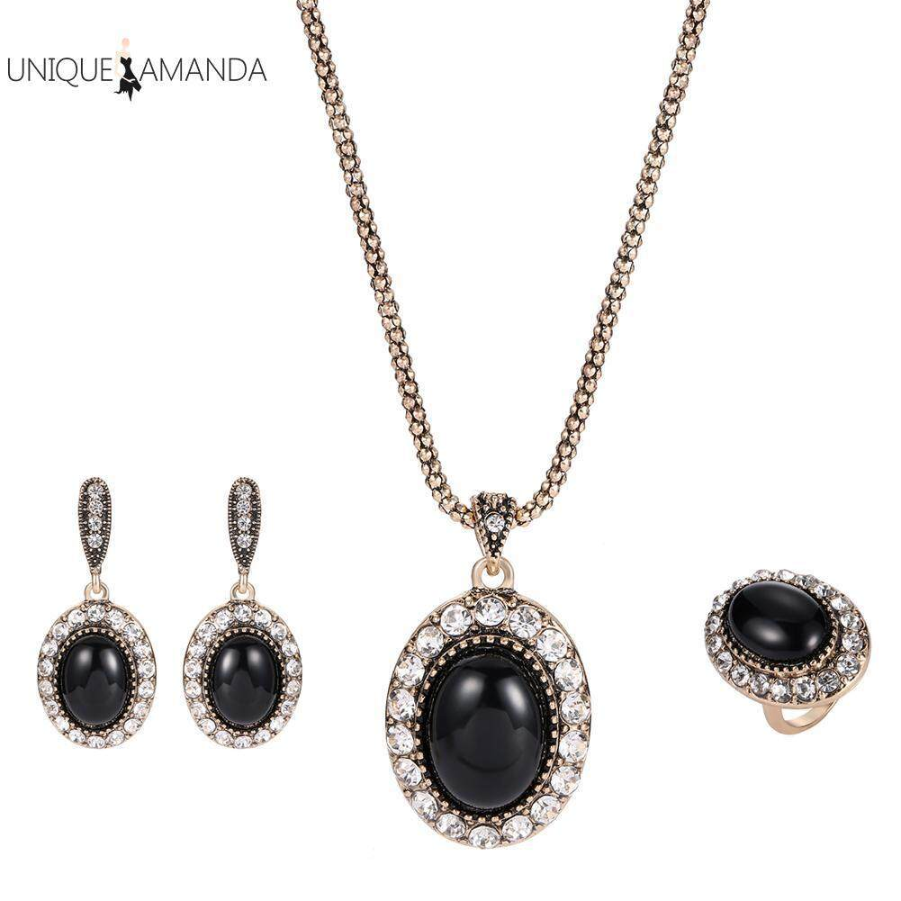 3pcs Vintage Women Black Gem Rhinestones Oval Necklace Ring Earrings Jewelry Sets By Unique Amanda.