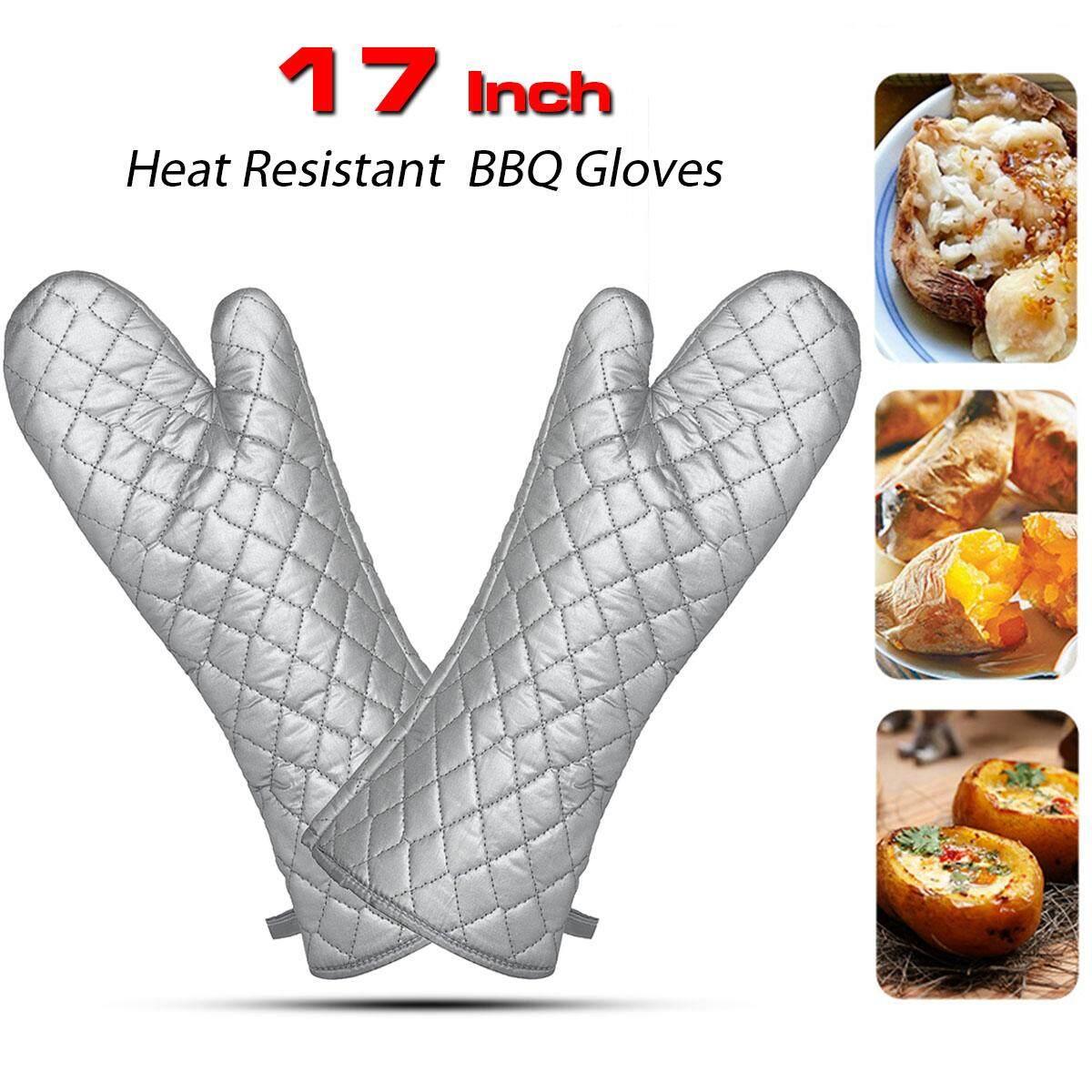 1 Pcs Sarung Tangan BBQ Tahan Panas Makan Malam Panjang 23 Inch Slicone Kain Sarung Tangan Oven