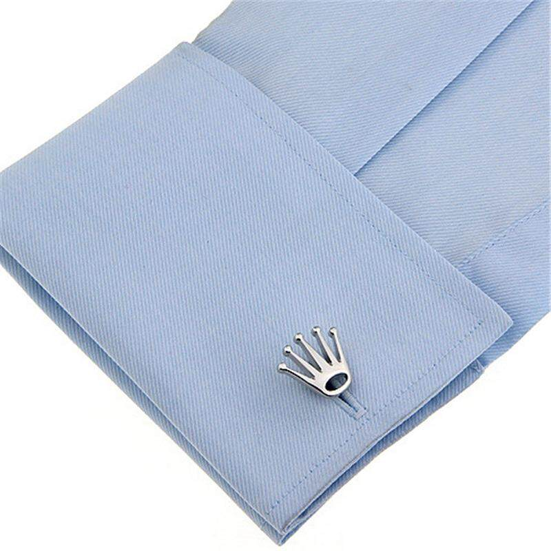 8e0ee8d90cdb Ishowmall Men Crown Shaped Silver Tone Metal Cufflinks/Suit Cuff Link for  Wedding Party