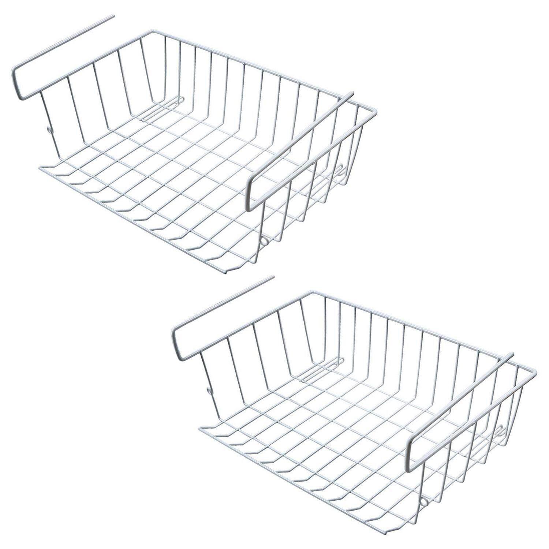 Under Shelf Storage Basket, 2 Pcs Under Cabinet Storage Wire Basket Organizer Fit Dual Hooks for Kitchen Pantry Desk Bookshelf Cupboard (White) Free Shipping