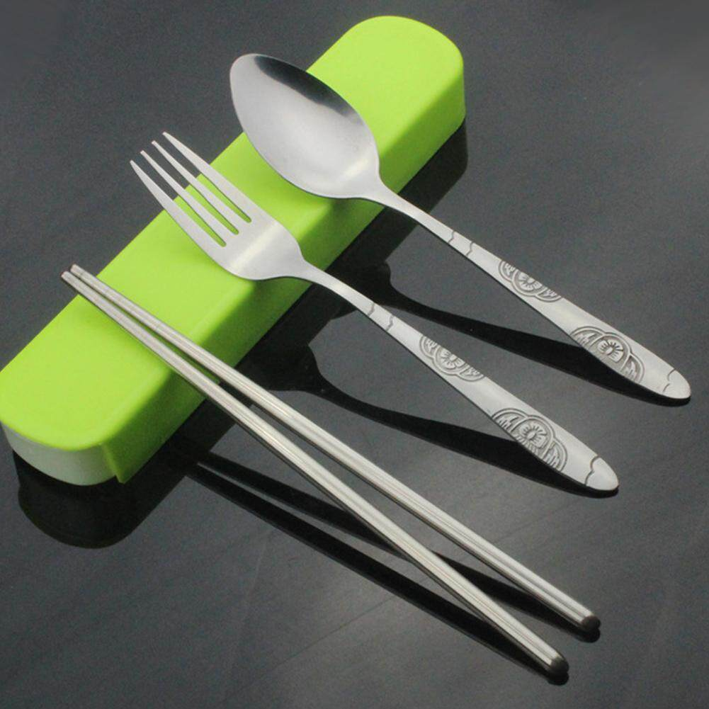 Stainless Steel Portable Cutlery Set Spoon Fork Chopsticks Dinnerware For Travelling Business Trip Specification:spoon Fork Chopsticks By Saideng.