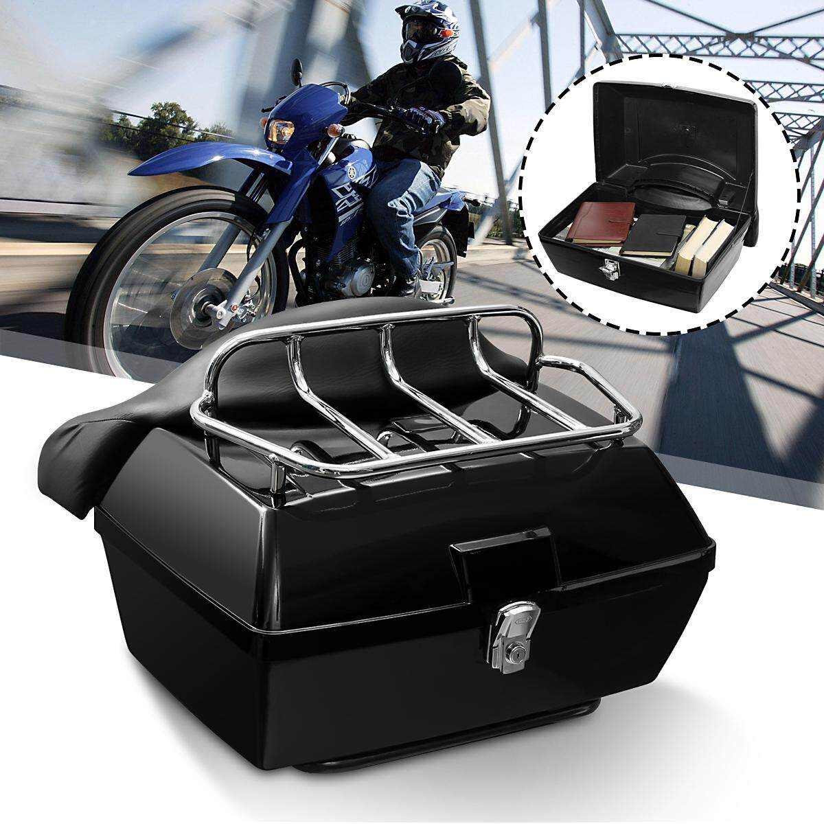 【Hot Sale】Motorcycle back top box case universal scooter motorbike rear luggage black 48L