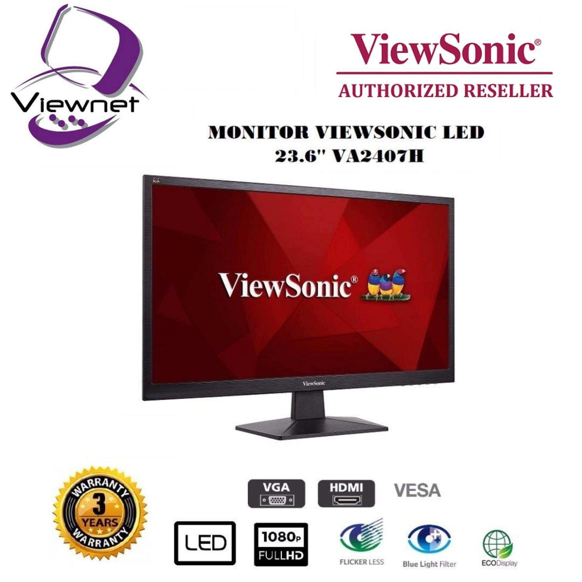 GENUINE VIEWSONIC LED FLAT FHD 23.6 VA2407H LCD MONITOR (5MS/VGA/HDMI/VESA) BLACK Malaysia