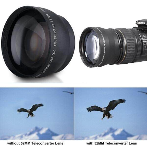 52mm 2x Telephoto Tele Lens Converter For Nikon D5100 D3200 D70 D40 DSLR Camera