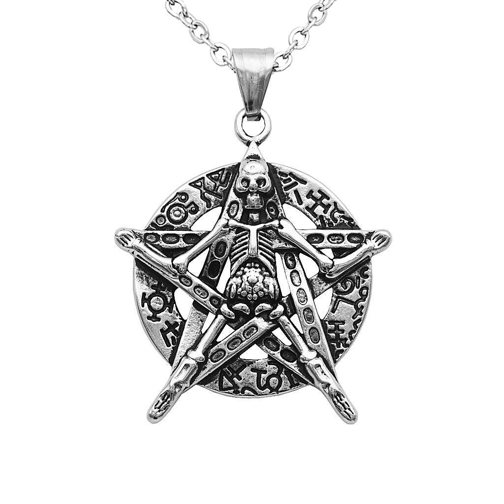BolehDeals Men's Stainless Steel Skull Star Round Tag Pendant Necklace Antique Silver Antique Gold - intl