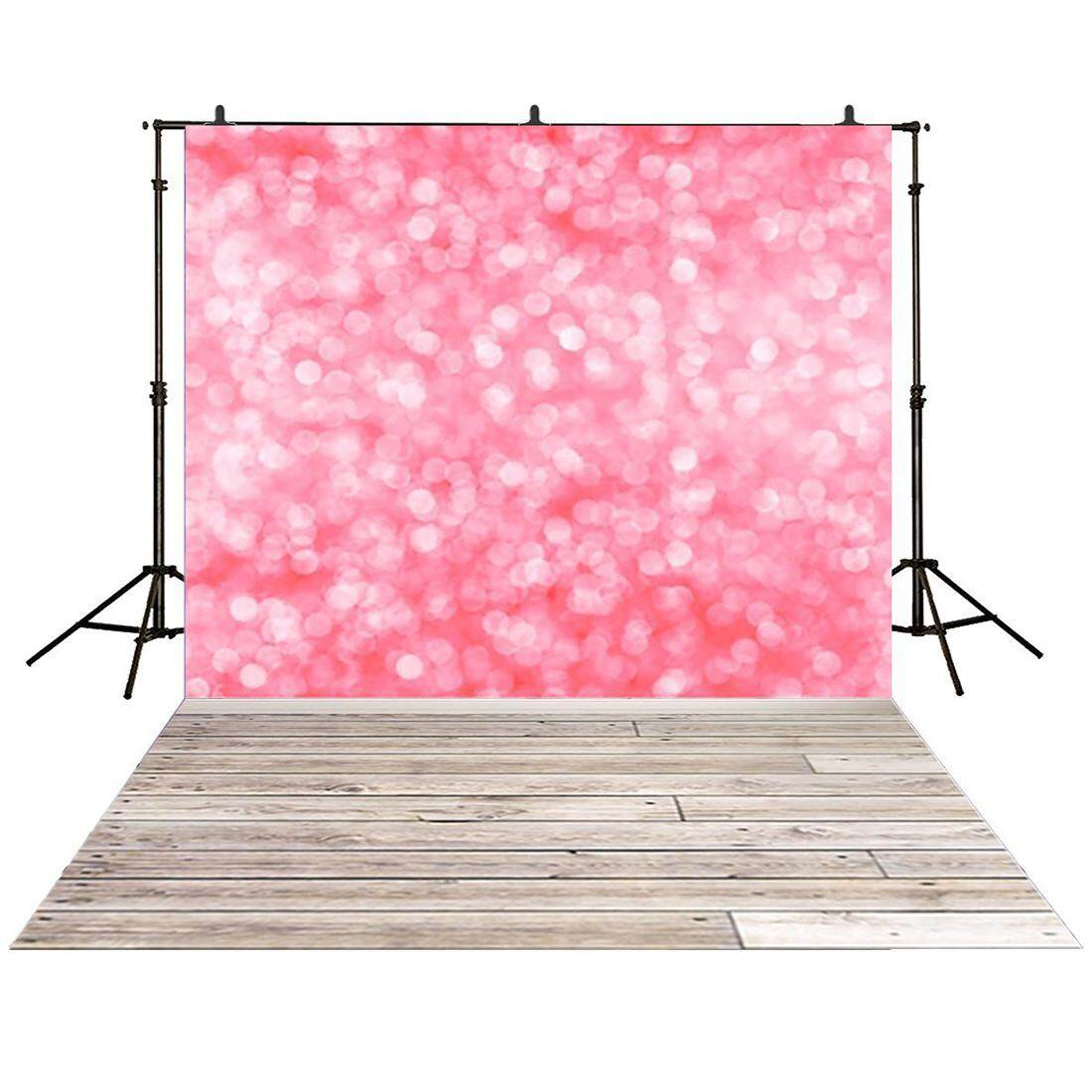 3x5ft Vinyl Photography backdrops Blur pink bubble wood floor Bokeh Snowflake background for photo studio Shooting Photo Booth