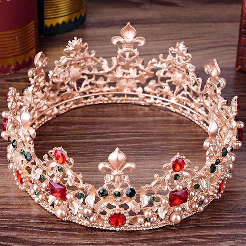 Ngọc Trai sang trọng Pha Lê Vàng Thái Cô Dâu Baroque Retro Vòng Tròn Đầy Đủ Cưới Trang Sức Kim Cương Giả Tiaras Vương Miện