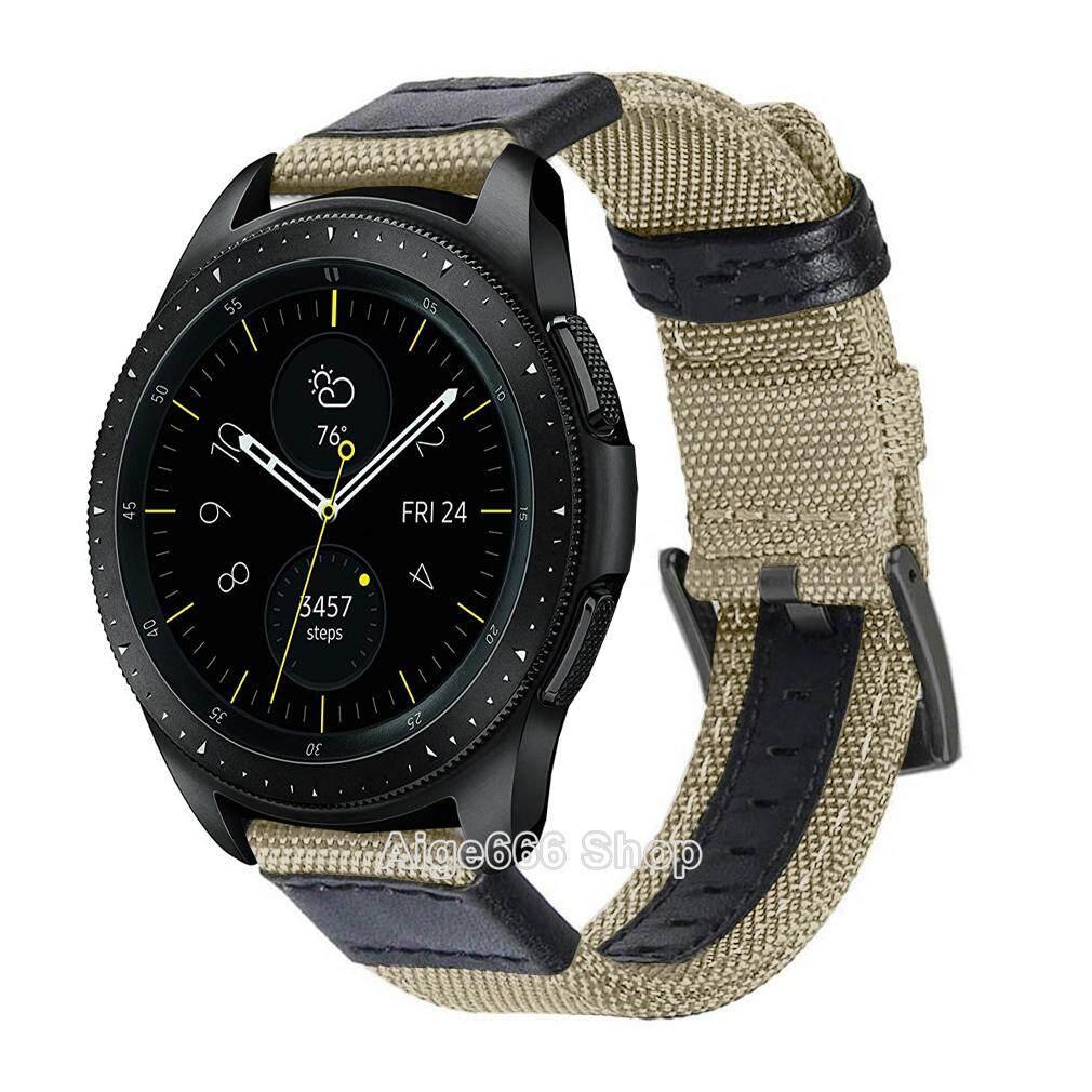 Gelang Tali Nilon, Tali Jam dengan Gesper Baja Tahan Karat untuk Jam Tangan Samsung Galaxy 42 mm 46 mm