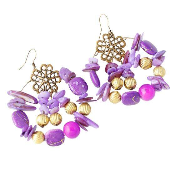 New Design Fashion Summer Style Charm Vintage Bohemian Beaded Earrings Jewelry For Women Purple