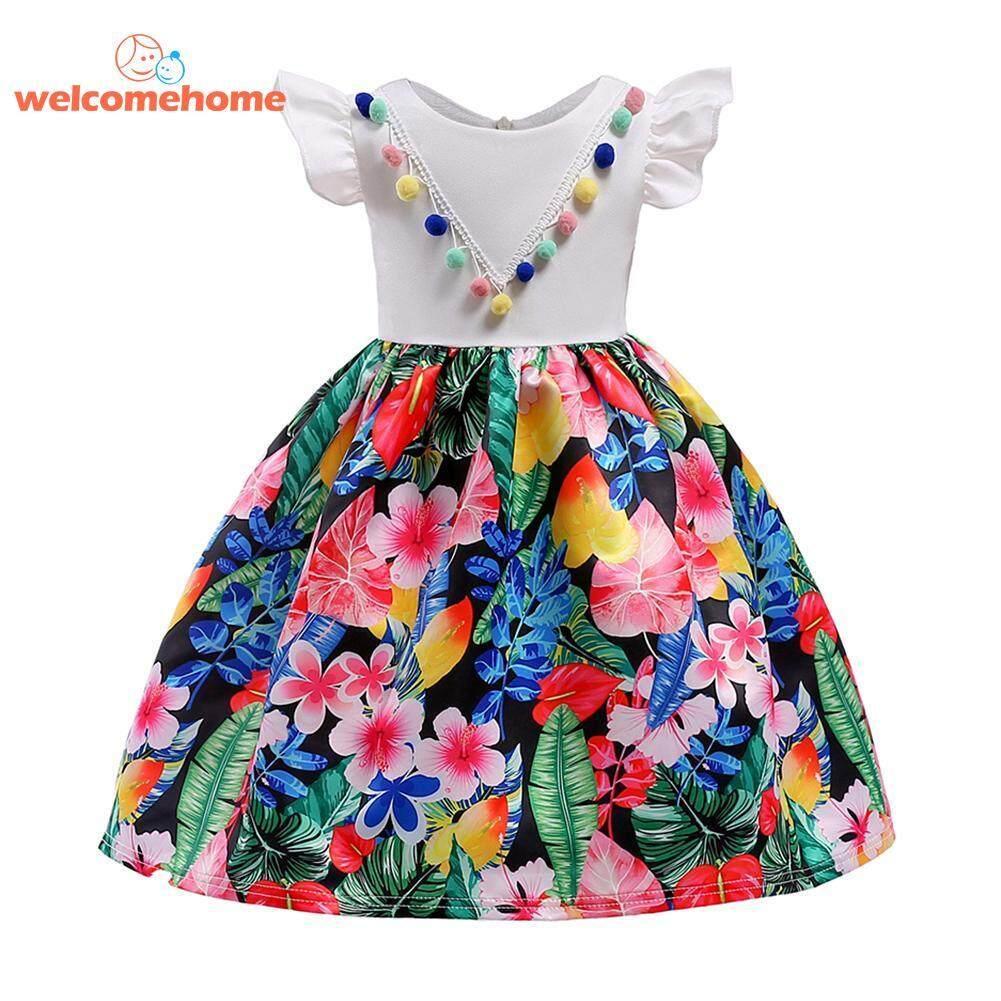 Warna-warni Suruh Keputusan Pengaruh Gadis Gaun O Leher Anak-anak Jahitan Cetak Motif Bunga Gaun Pesta (Putih)-5-6yrs-Intl