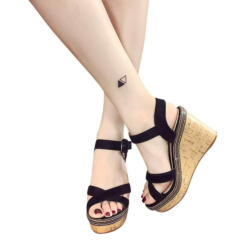 3cce7a3404 Women Fish Mouth Platform High Heels Wedge Sandals Buckle Slope Sandals