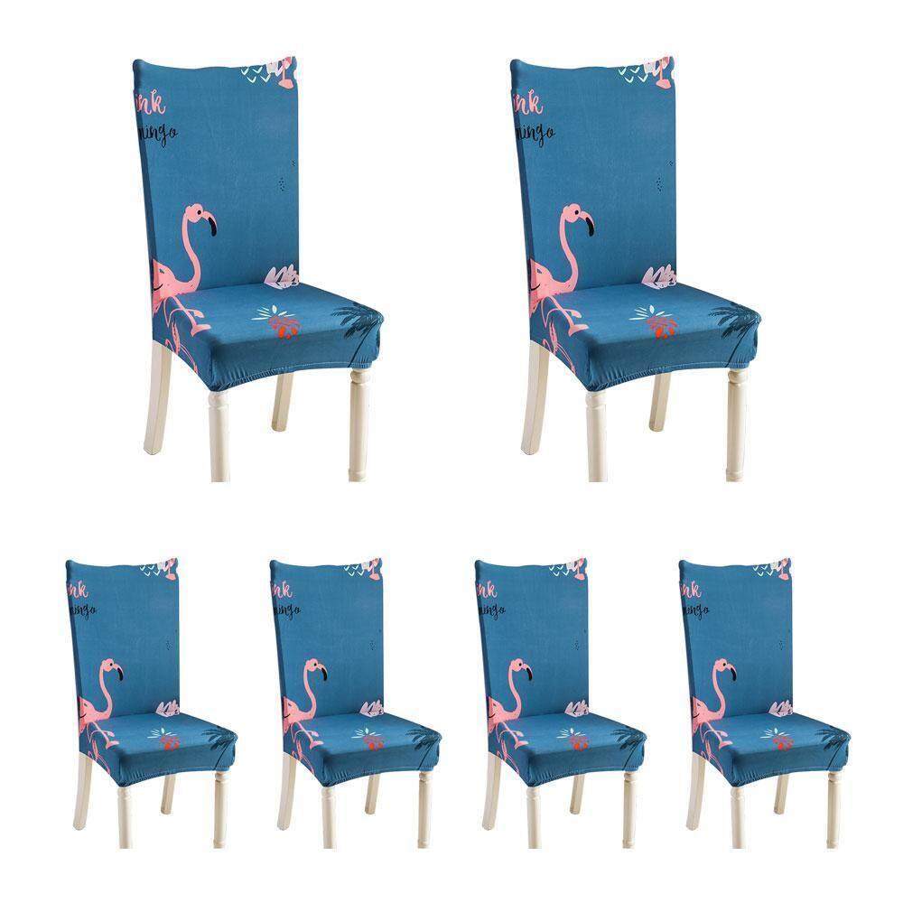 Outflety 6 Pcs Lembut Pendek Ruang Makan Selimut Kursi dengan Pola Cetak, Pelindung Kursi Sarung