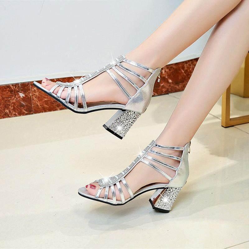 35fee93eb95 Women Sandals 2018 Summer High Heels Women Shoes Sandals Diamond Square Heel  Wedding Shoes Fashion Bling