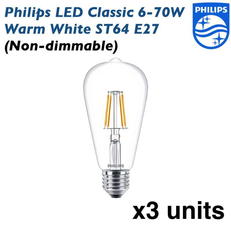 Philips LED Classic 6-70W Warm White ST64 E27 (Non dimmable) - 3