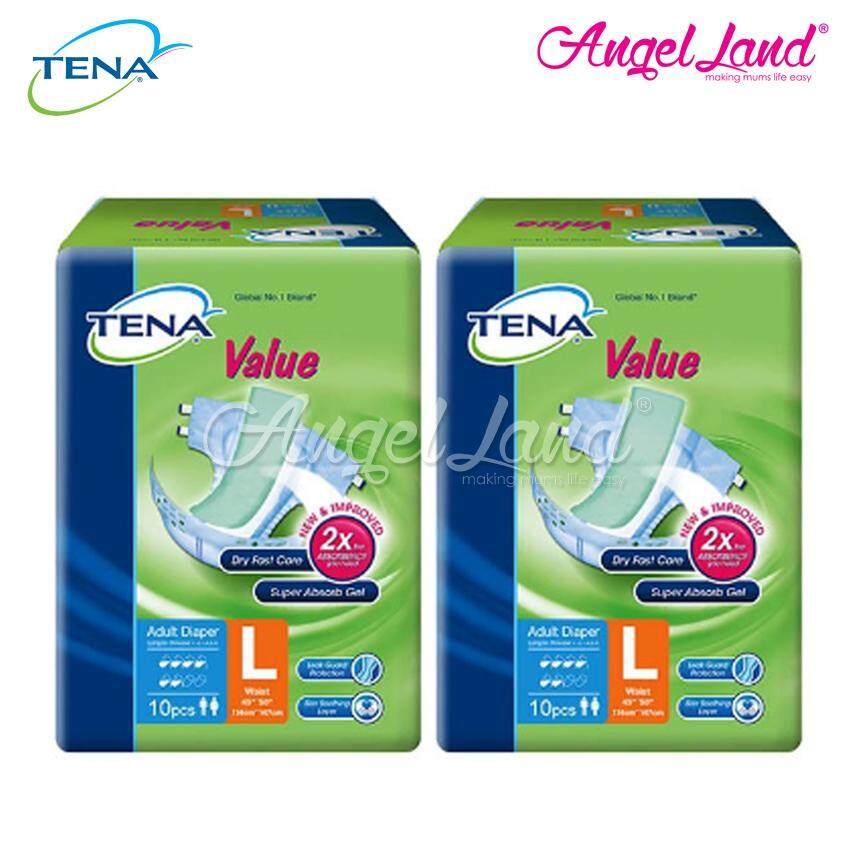 Tena Value Adult Diaper L 10pcs (2 Packs)