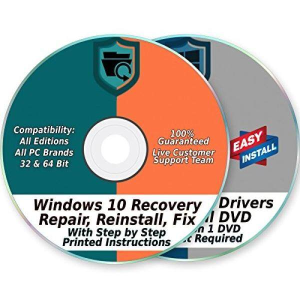 Windows 10 32 & 64-Bit Install, Reset, Boot, Recovery, Restore, Repair & Fix Disk with 2018 Drivers 2 DVD Set for Home & Professional All PC Brands & Systems - intl