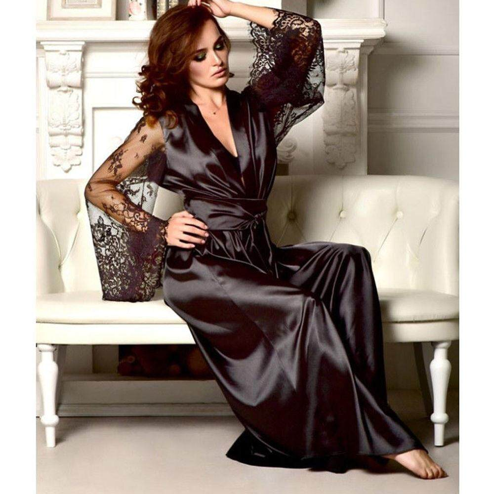 Lingerie Sleep Robes Women Satin Long Nightdress Silk Lace Lingerie  Nightgown Sleepwear Sexy Robe d8d57655f