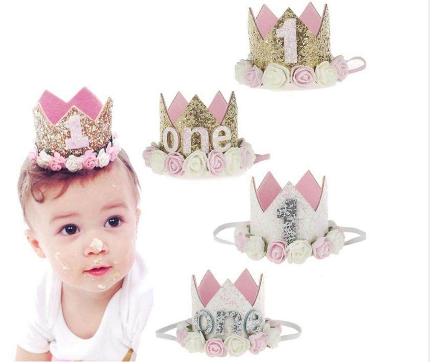 1PC Baby Girl Boys Birthday Hat Happy 1st Day Flower Priness Crown Headband Shower Party