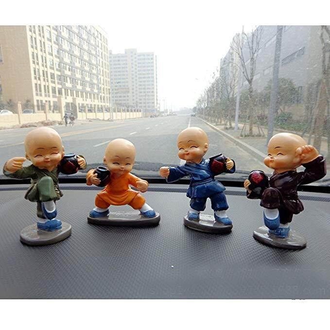 Hiqueen 4 Pcs/set Mabuk Kartun Rahib Kecil Hiasan Boneka Auto Dasbor Mobil Mainan Hiasan
