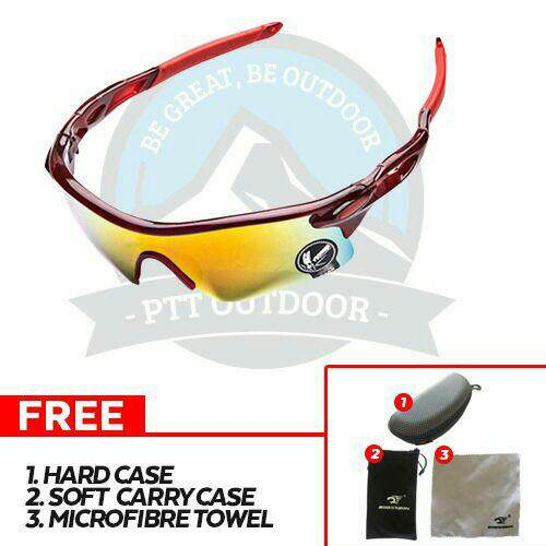 [ BEST SELLER ] Robesbon Polarized Cycling Bike Sun Glasses Outdoor Sports Bicycle Bike Sunglasses Goggles Eyewear - Fiery Red