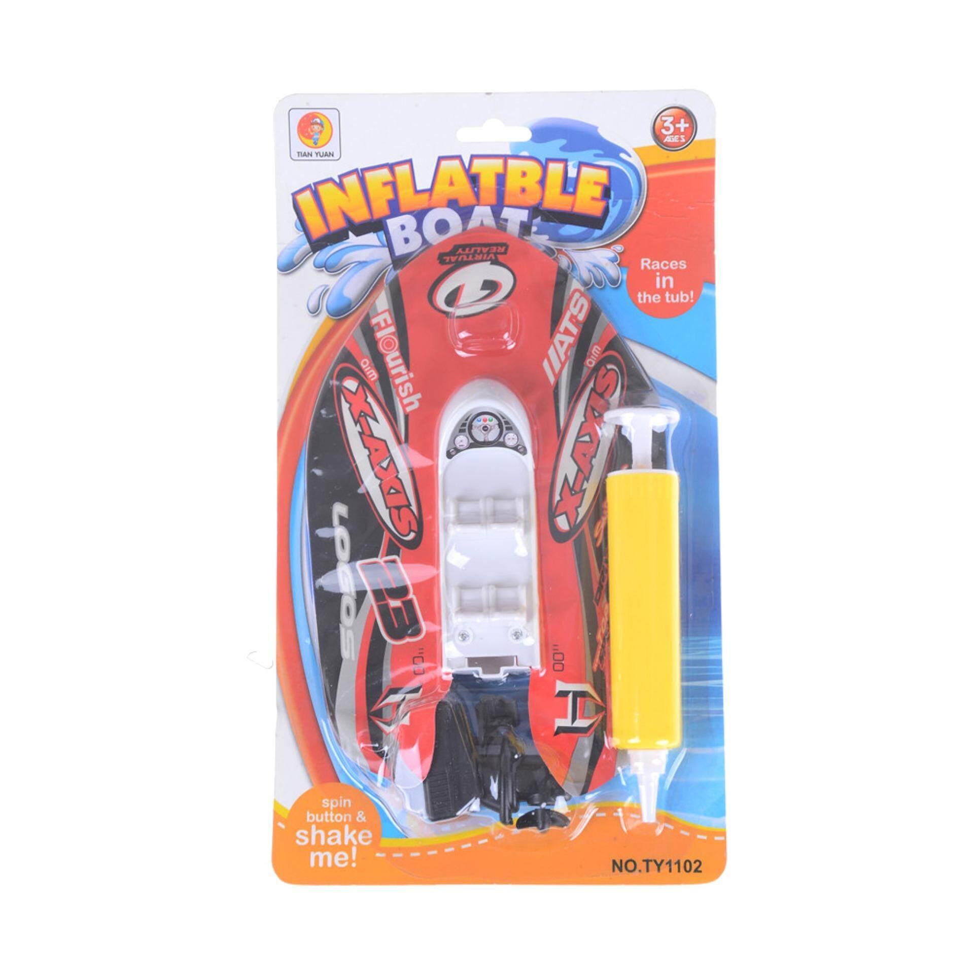 Hình ảnh Summer Kids Toys Boat Wind Up Inflatable Motorboat Colorful Speedboat Bath Toys Red