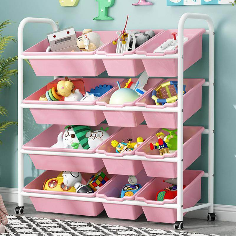 RuYiYu - 83 X 94 X 30cm, Kids Toy Organizer and Storage Bins with Pulley/Universal Wheels , 9-Bins in Fun Colors, Toy Storage Rack, Steel Pipe Frame