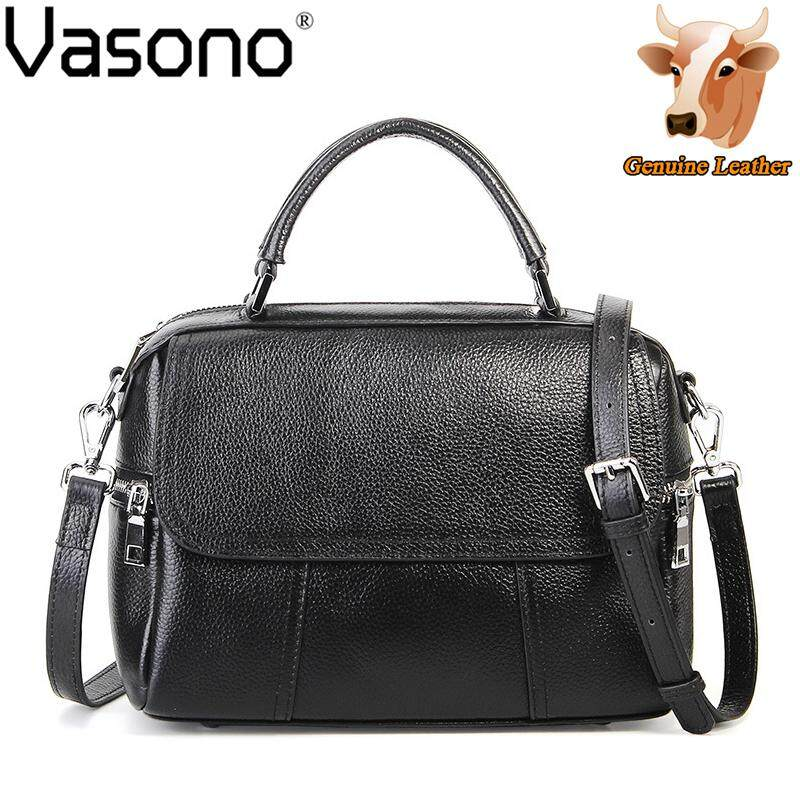 Vasono High Quality Top Grain 100% Genuine Cow Leather Women Top Handle Bag Woman Handbag