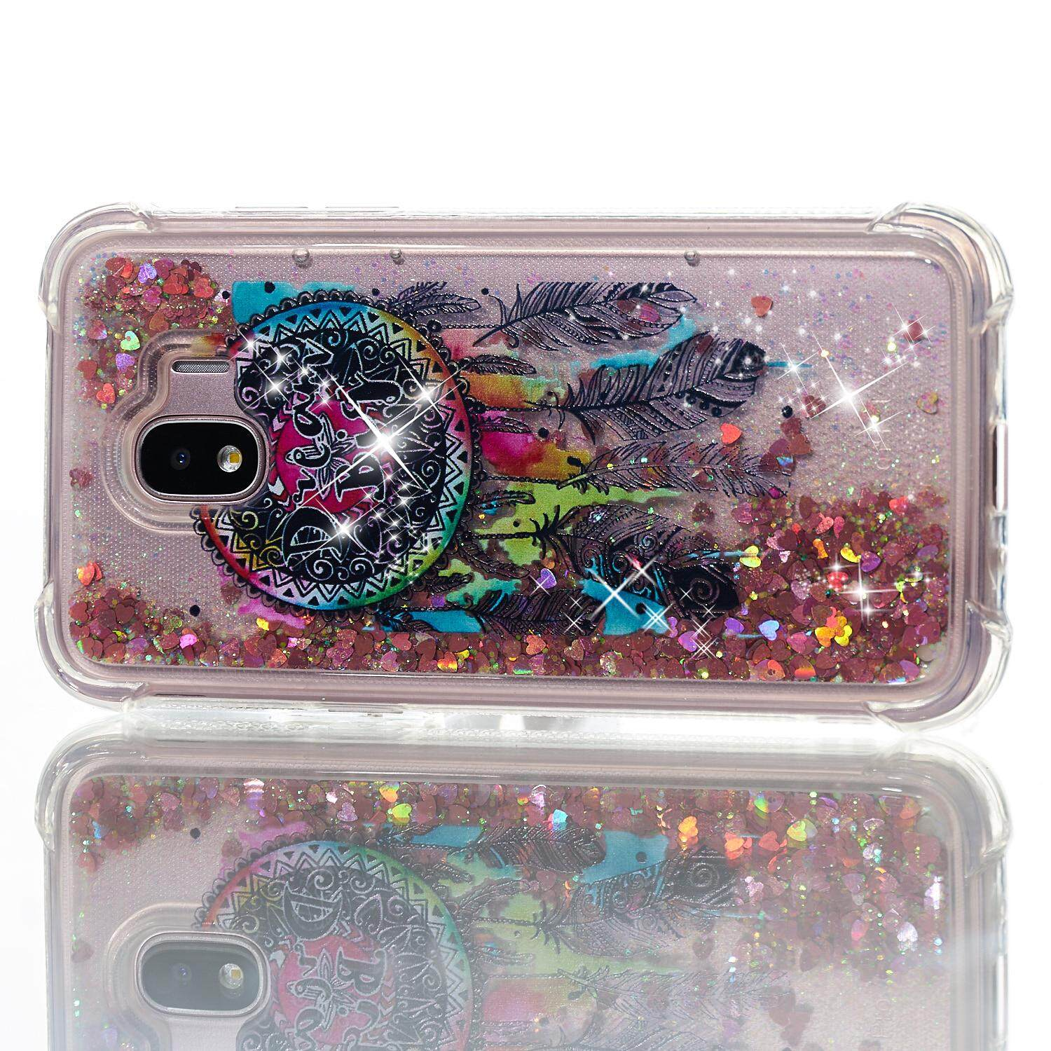 Case for Samsung Galaxy J2 Pro 2018 3D Soft TPU Flowing Liquid Floating Glitter Stars