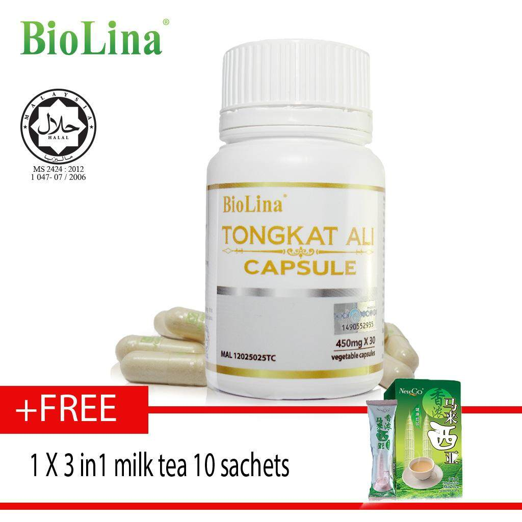 Biolina Tongkat Ali Capsule 30's x 450mg free 3 in1 milk tea ????30?