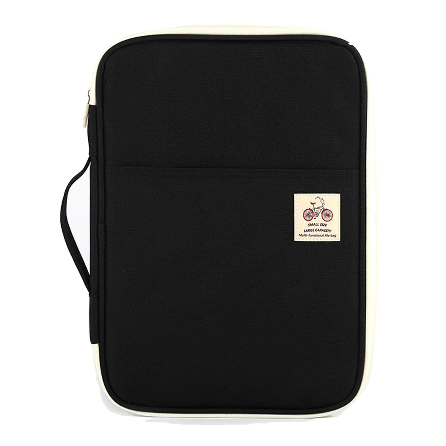 Mua Travel A4 Multi-function Documents Bag Files Organizer Messenger Handbag Storage Case Bag for iPad Tablet Notebook Black