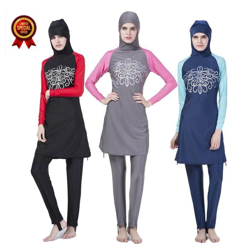 2018 Women Plus Size Muslim Swimwear Beach Bathing Suit Muslimah Islamic Swimsuit Swim Surf Wear Modest Burkini Swimsuit Swimwear Hijab Floral Printed Swimwear Beachwear Set Grey - intl