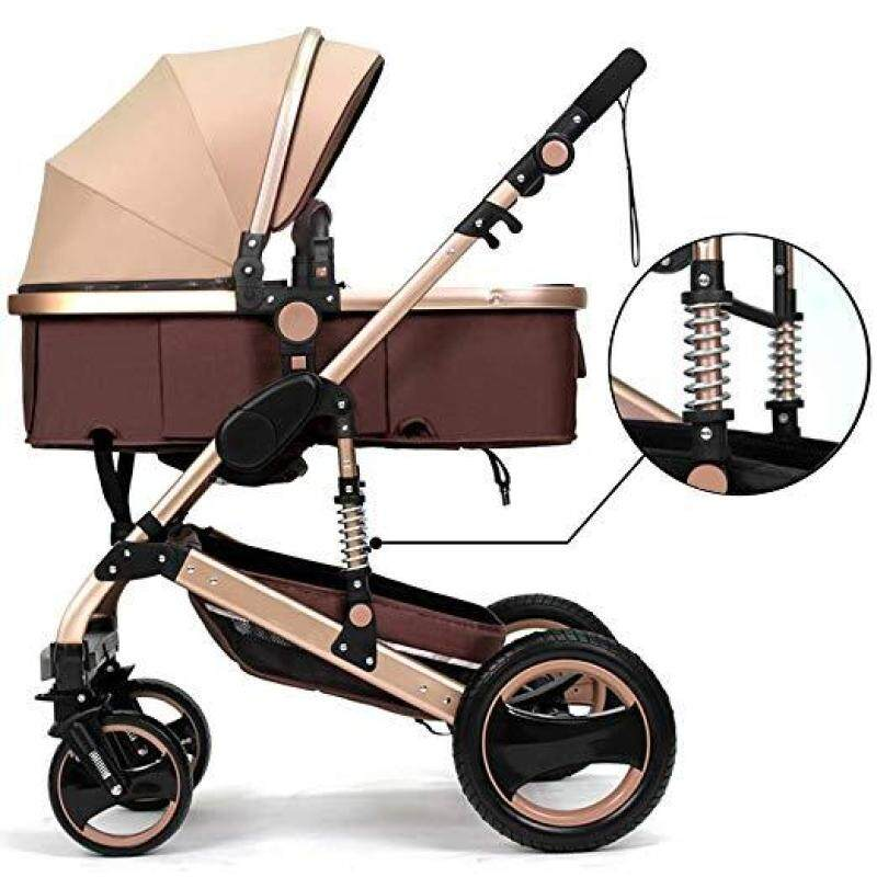 Belecoo™ Luxury Newborn Baby Foldable Anti-shock High View Carriage Infant Stroller Pushchair Pram - intl Singapore