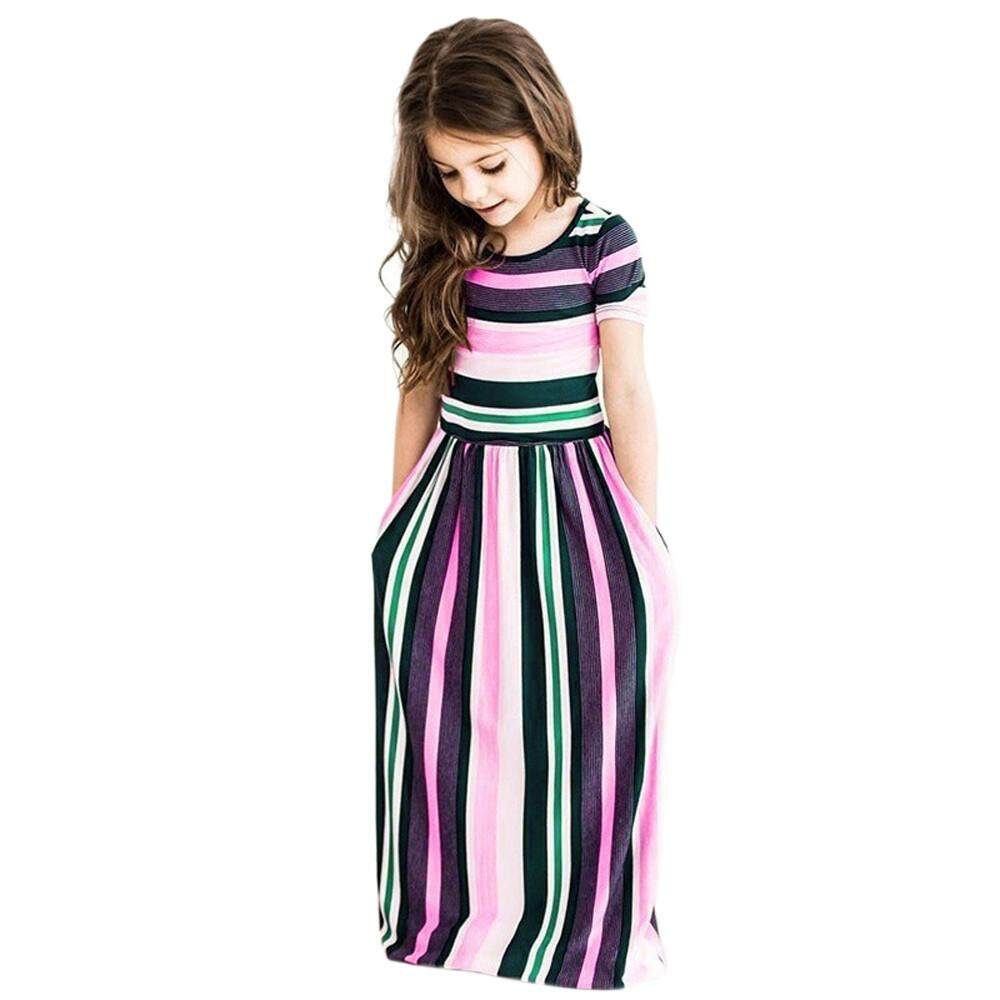 f4201a4748 〖Aihid Store〗Toddler Baby Girls Striped Long Dress Kids Party  BeachwearDresses Outfits