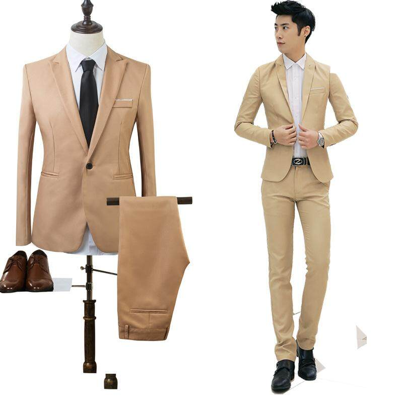 2pcs ( Suit Jacket & Pants ) Men Business Suit Set Slim Fit Casual Formal Suits One Button Suit Blazers Jacket Coat And Pants Wedding Suit Sets (blazer&trousers) - Khaki - Intl By Baolaiwu.