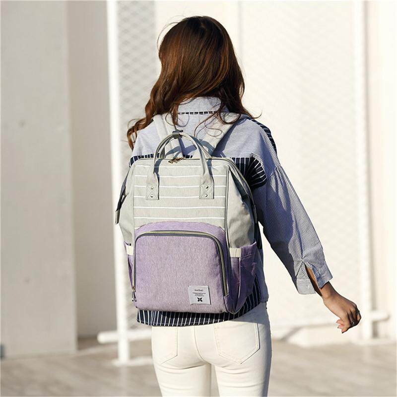 purple fashion diapers large-capacity multi-function care bag children  travel striped backpack baby 2cd022966b985