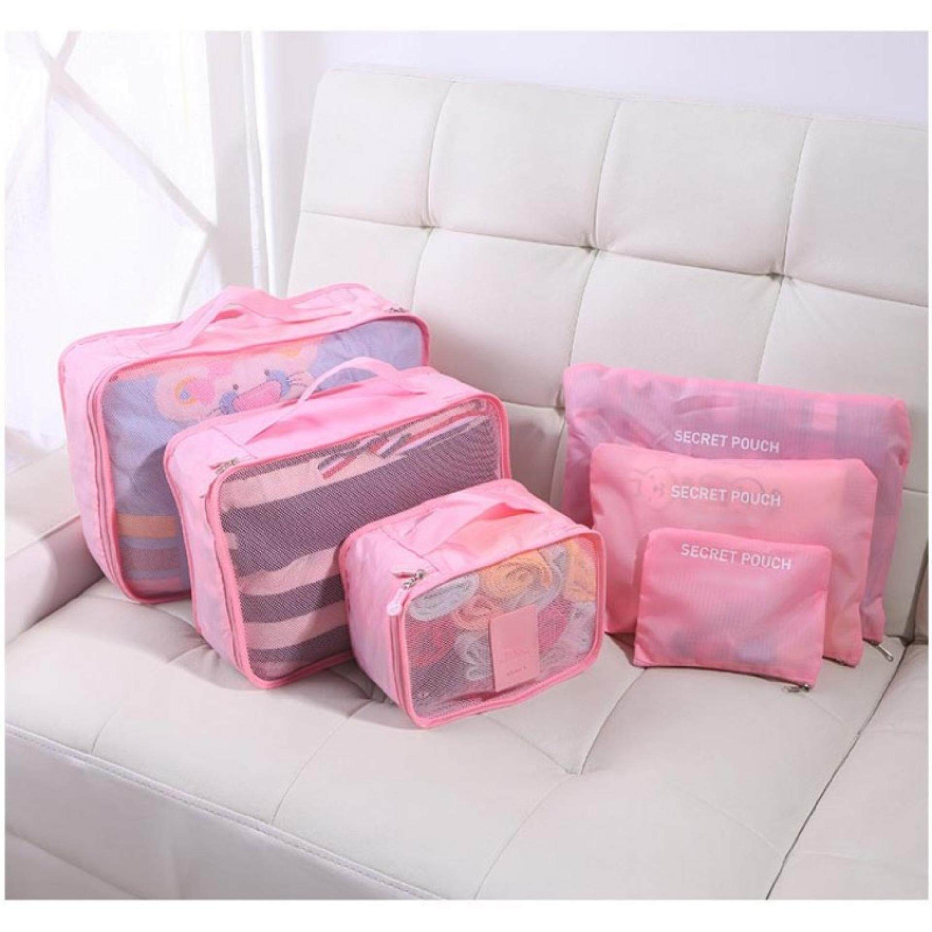 Peach Pink 6 in 1 Travel Pouch