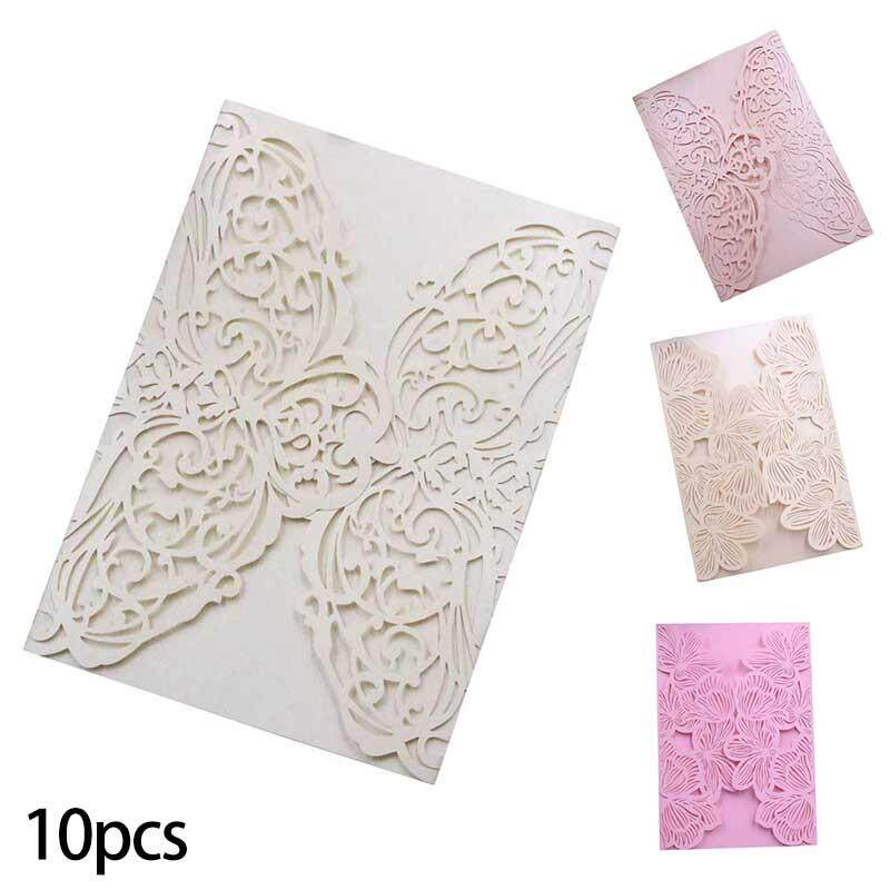 10pcs Wedding Party Invitation Card Delicate Carved Flowers Engagement Invitation Card