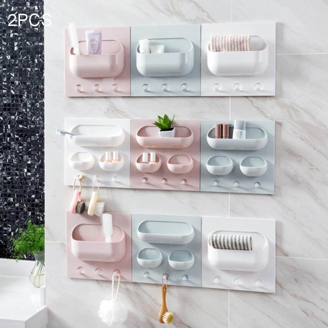 2 PCS Multi-function Kitchen Bathroom Traceless Strong Paste Plastic Shelves, Random Color and Style Delivery