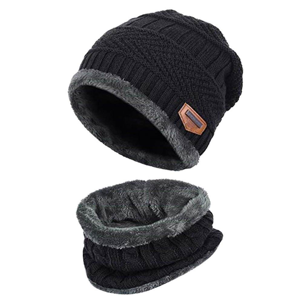 08dc05f9a73 Knitted Hat Scarf Caps Neck Warmer Winter Hats For Men Women Skullies  Beanies Warm Fleece Cap