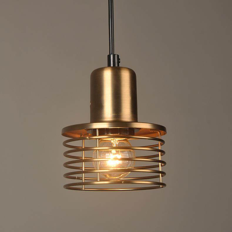 QUKAU retro industrial style lighting ceiling pendant light bronze lamp small chandelier Restaurant