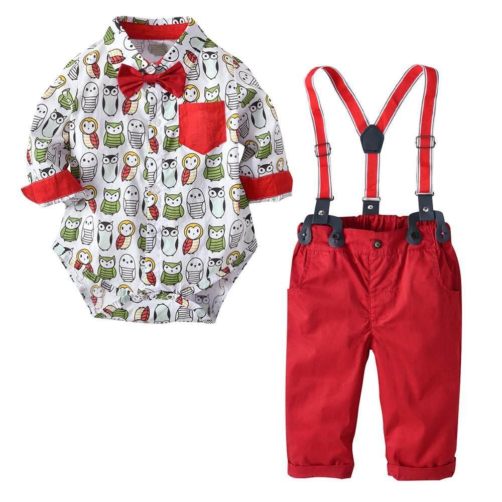 CNB2C Anak Bayi Balita Dasi Kupu-kupu Pria Kartun Kaus Atasan Keseluruhan Set Baju Celana