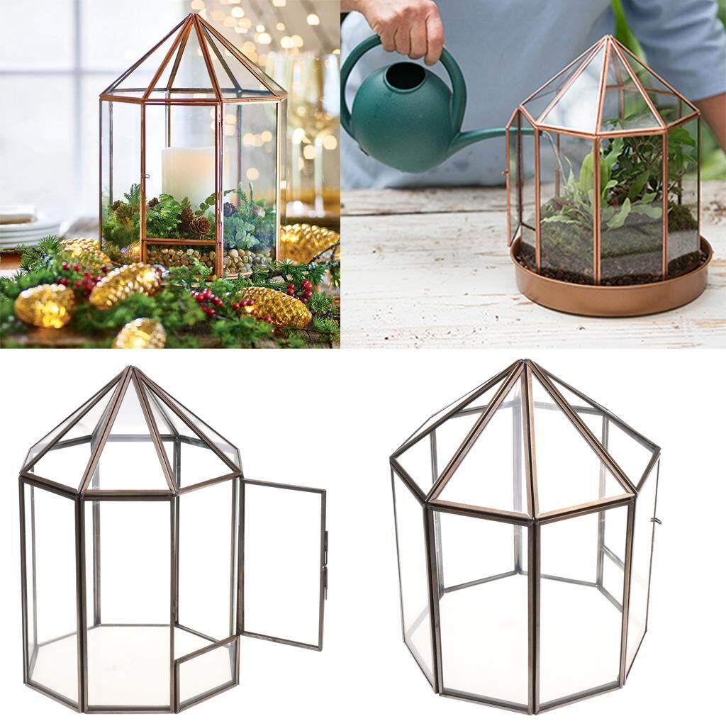 GuangquanStrade Glass Geometric Terrarium Box Tabletop Succulent Plant Planter 17x17x23cm