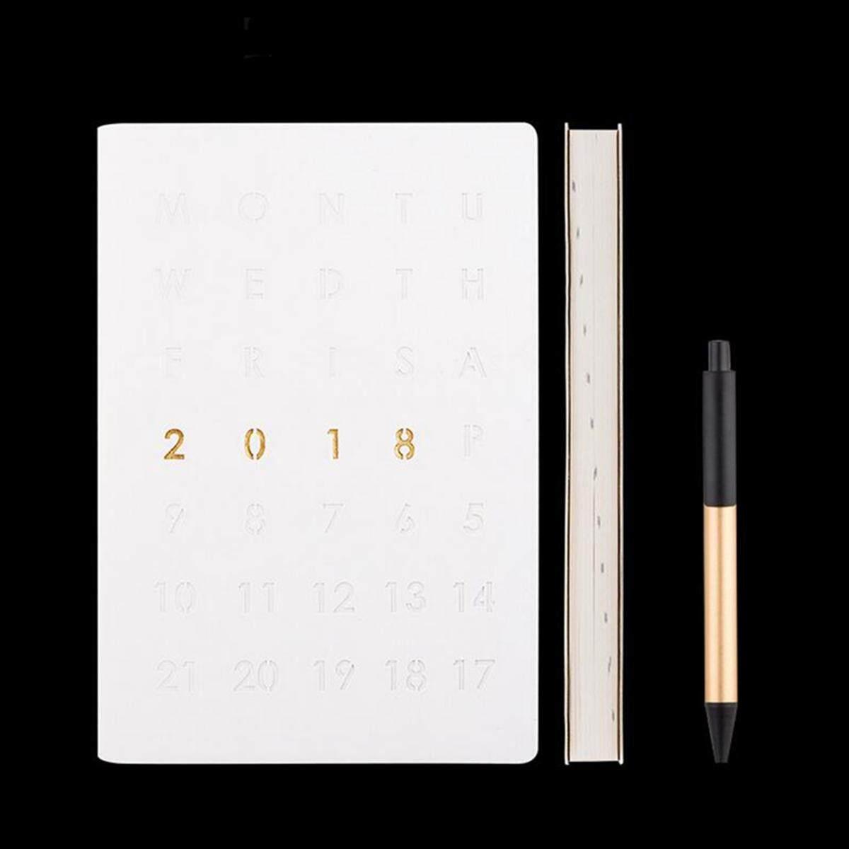 2018 สัปดาห์ดูหรือวันหน้าไดอารี่ & Planner ใน Slimline, Quarto, A5 หรือ A4  White - Intl.