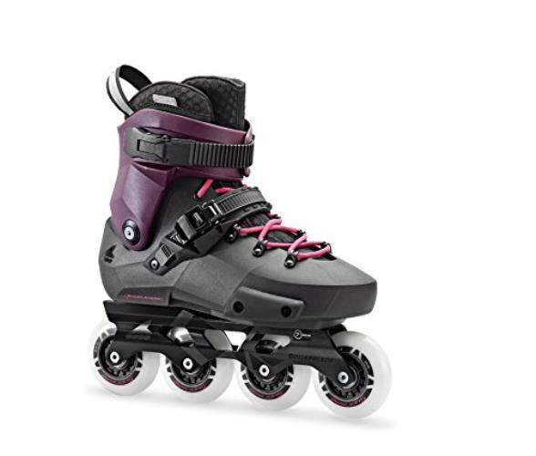 Sepatu Roda Twister Edge Wanita Kebugaran Dewasa Sepatu Roda, Hitam dan Ungu, Kinerja Tinggi Sepatu Roda-Internasional